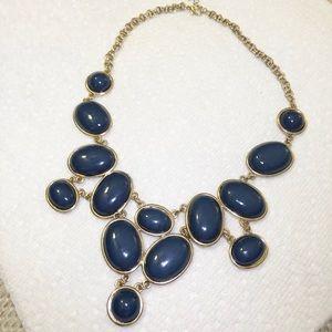 Navy Blue & Gold Statement Necklace